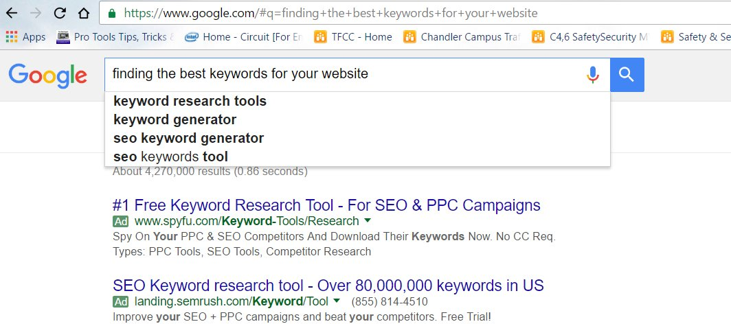 Finding Keywords for Your Website